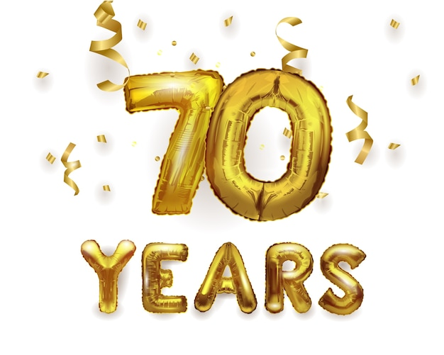 番号70の誕生日お祝い金箔ヘリウムバルーンプレゼント。ナンバー70ホイルバルーン。