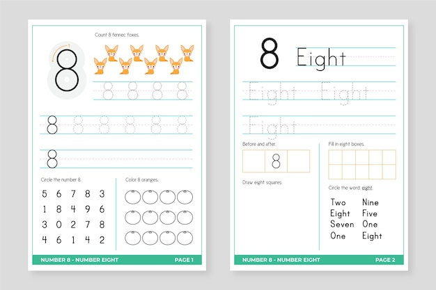 Number 8 worksheet template