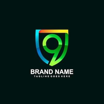 Цифра 9 и логотип щита