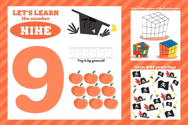 Number 9 worksheet template
