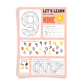 Number 9 worksheet with colorful digits