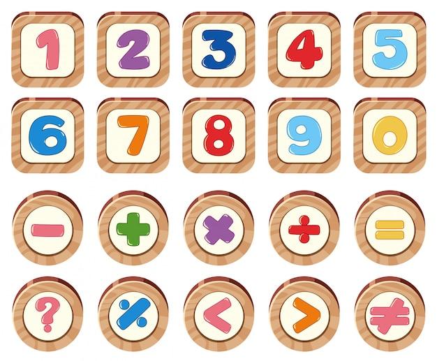 木製のレンガの数と記号