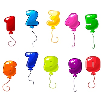 Number balloons set for birthday party or greeting  cards