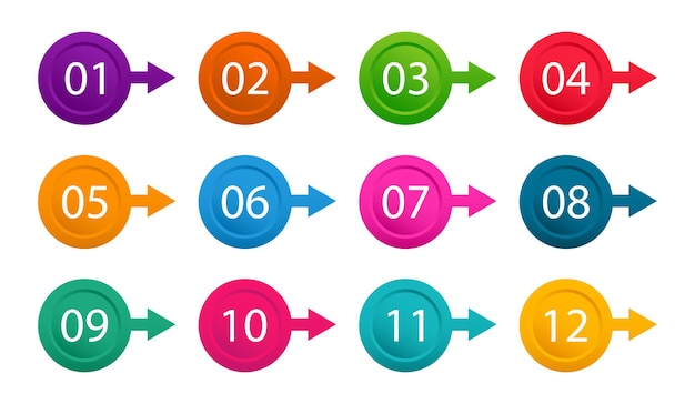 Number bullet point from one to twelve colorful markers