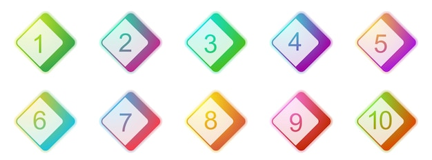 Number bullet points 1 to 10. colorful 3d markers set. vector illustration. square bullet points.