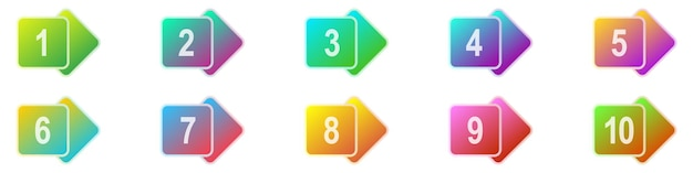 Number bullet points 1 to 10. colorful markers set. vector illustration. geometric bullet points.