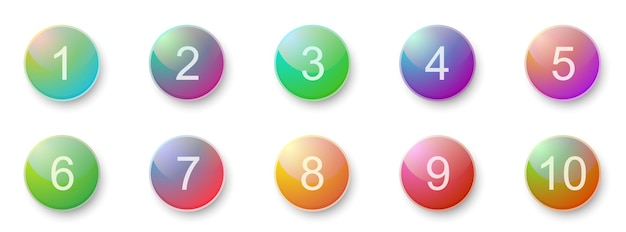 Number bullet points 1 to 10. creative 3d buttons set. vector illustration.