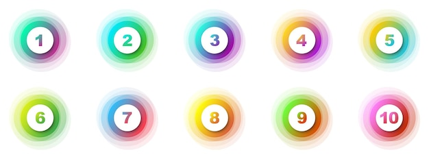 Number bullet points 1 to 10. creative 3d markers set. vector illustration.