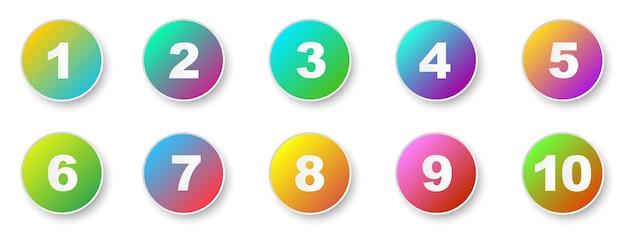 번호 글머리 기호 1 ~ 10입니다. 크리에이 티브 3d 마커 세트입니다. 벡터 일러스트 레이 션.