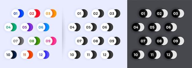 Количество пунктов маркированного набора от одного до двенадцати