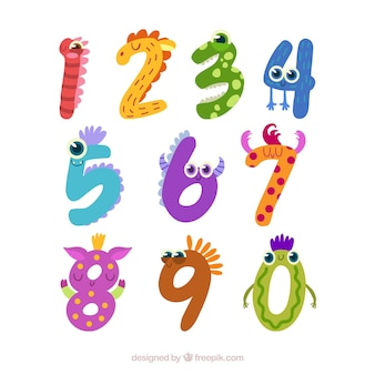 Number collection with eyes