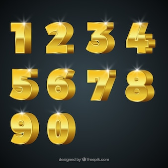 Number collection with golden style