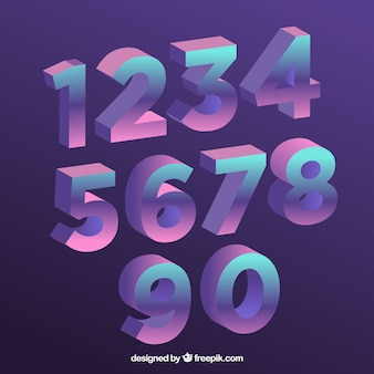 Number collection with gradient style