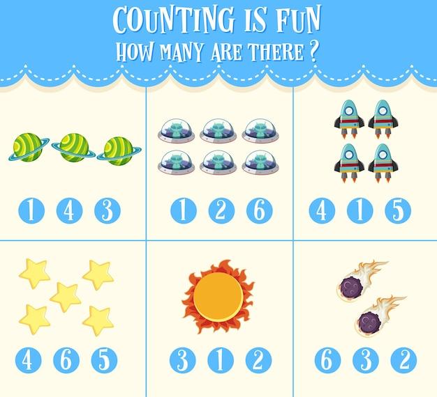 아이들을위한 숫자 계산 수학 워크 시트 프리미엄 벡터