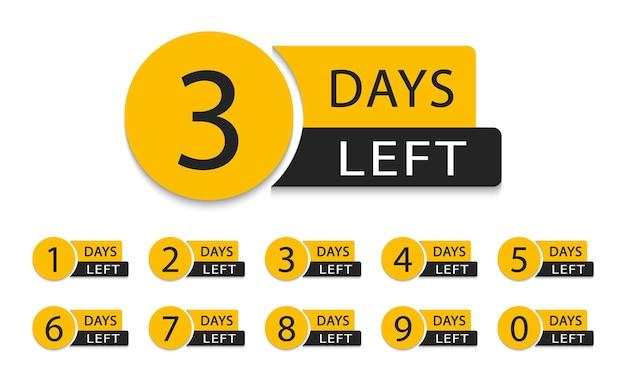 Количество дней осталось. рекламный баннер обратного отсчета дней. оставшееся количество дней.