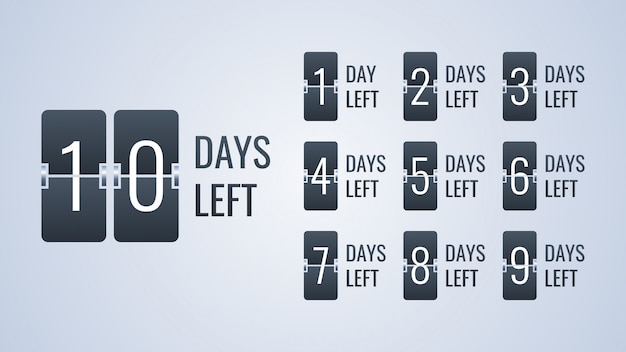 Number days left flip countdown clock counter timer template