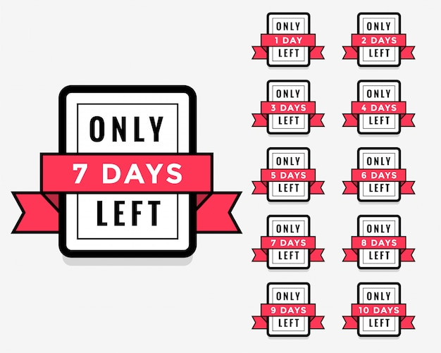 Number of days left label or badge design for sale promotion
