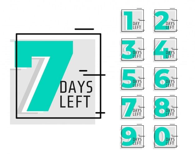 Numero di giorni lasciati banner promozionali di tendenza