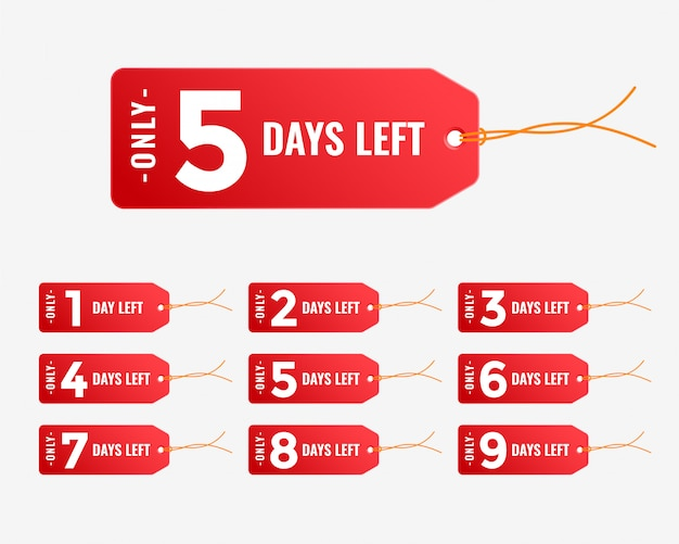 Number of days left, red tag banner