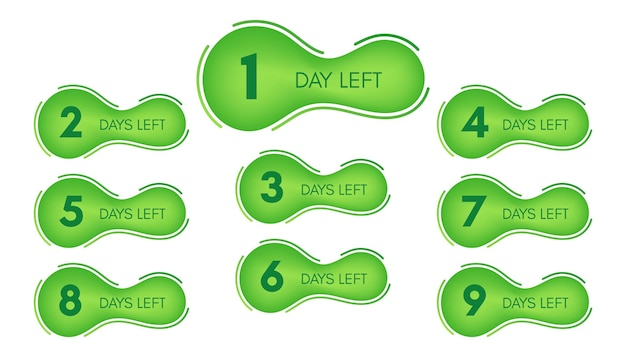 Number of days left. set of nine green banners with countdown from 1 to 9. vector illustration