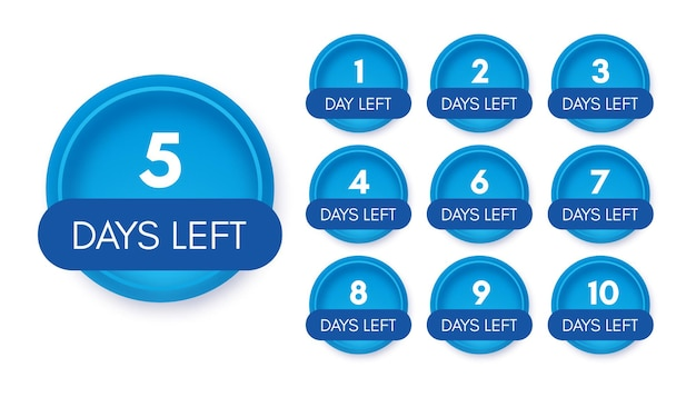 Number of days left. set of ten blue banners with countdown from 1 to 10. vector illustration