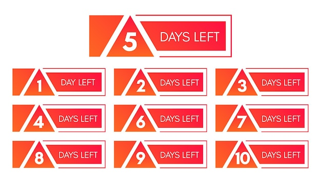 Number of days left. set of ten red banners with countdown from 1 to 10. vector illustration