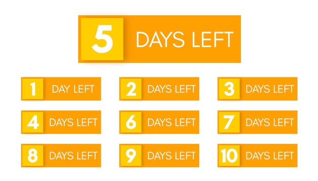 Number of days left. set of ten yellow banners with countdown from 1 to 10. vector illustration