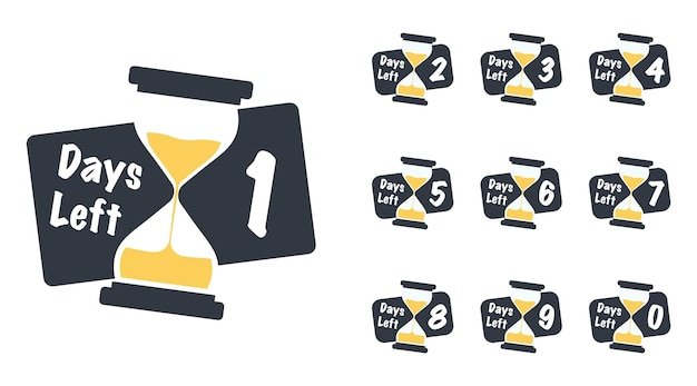 Number of days left with sand timer hourglass badge or sticker design