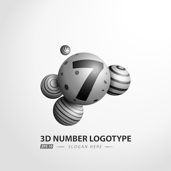 Number decorative ball logotype