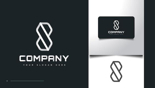 추상적이고 기하학적인 개념을 가진 8번 로고 디자인. 8 모노그램 로고