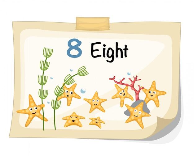 Number eight starfish vector