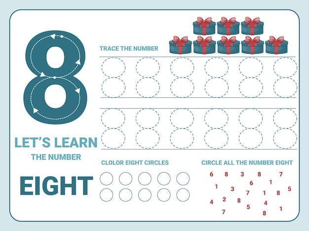 Number eight tracing practice worksheet