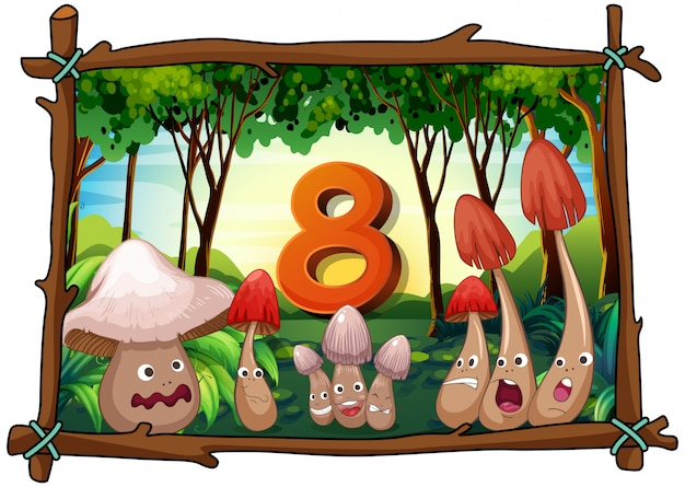 Number eight with mushrooms in the forest