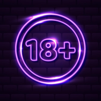 Число восемнадцать плюс символ неонового стиля