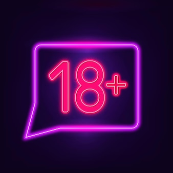 Number eighteen plus in neon style sign
