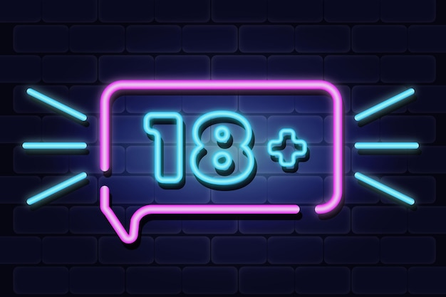 Number eighteen plus in neon style symbol