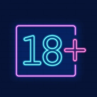 Number eighteen plus in neon style