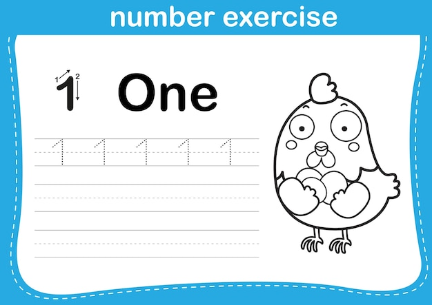 Number exercise with cartoon coloring book illustration