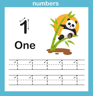 Number exercise with cartoon illustration