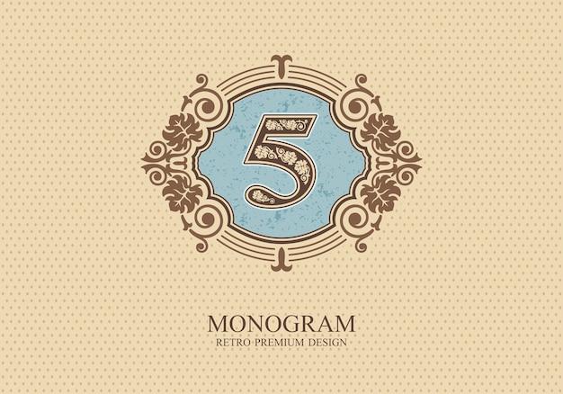 Number five typographic design elements, calligraphic graceful template,