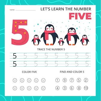 Numero cinque foglio di lavoro per bambini