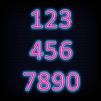 Number font typography neon sign style