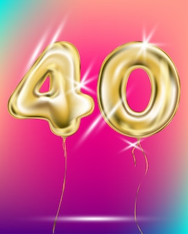 Number forty gold foil balloon on gradient