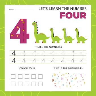 Numero quattro foglio di lavoro per bambini