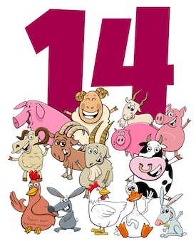 Number fourteen with cartoon farm animals