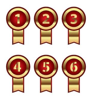 판촉 또는 인증서의 번호 등급 리본