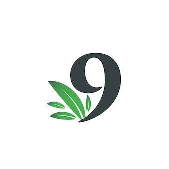 Номер девять логотип с зелеными листьями. логотип натуральный номер 9 с зеленым листом.