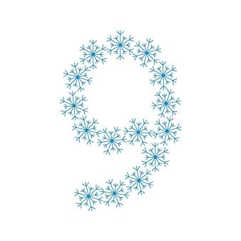 雪の9番。新年とクリスマスのためのお祝いのフォントや装飾
