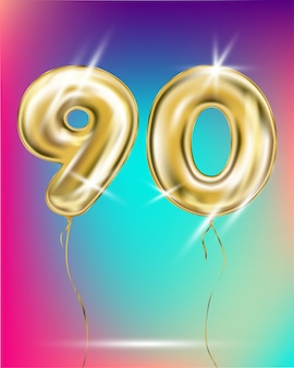 Number ninety gold foil balloon on gradient