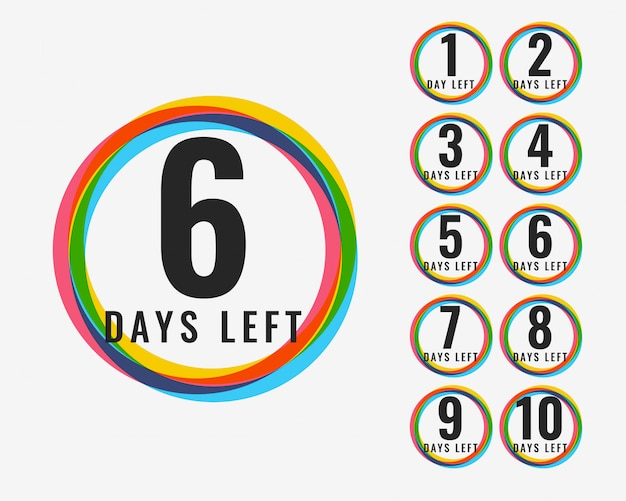カラフルなシンボルデザインの残り日数